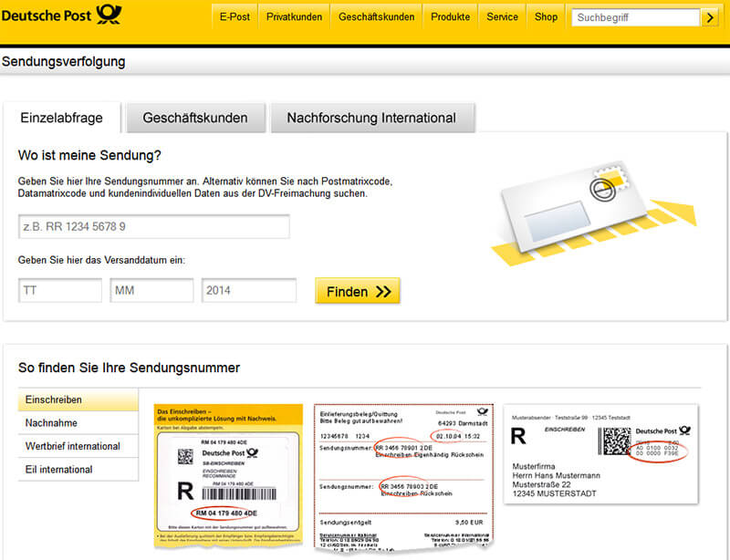 deutsche post briefstatus verfolgen tracking support. Black Bedroom Furniture Sets. Home Design Ideas