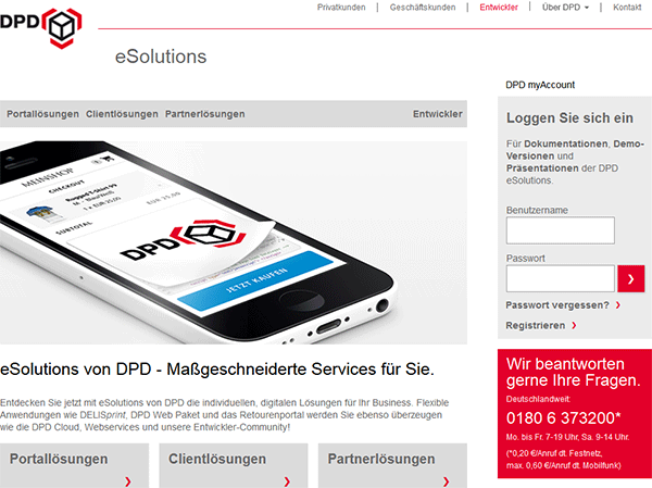 dpd esolutions homepage